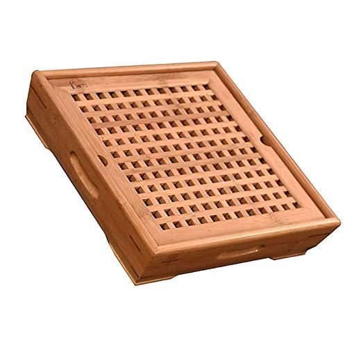 JIAHU Bandeja de madera para servir estilo chino de bambú cuadrado tipo taza de drenaje plato 1 pieza