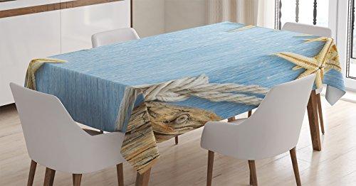 Ambesonne Seashells Tablecloth, Seashells Maritime Beach Theme Shellfish Wooden Board Romance Vintage, Rectangular Table Cover for Dining Room Kitchen Decor, 60' X 90', Blue Ivory