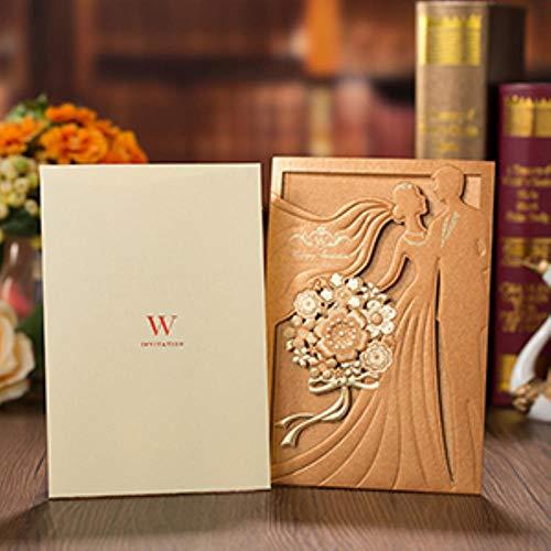 Yener 1 stks Rood Goud Trouwkaarten Kaart Bruid en Bruidegom Elegante Wenskaart Met Enveloppen Bruiloft Decoraties, omslag en binnenkaart, 127 x 185 mm