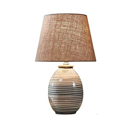 PLLP Lámparas novedosas, lámparas de noche y de mesa Nuevo estilo chino Lámpara de mesa de cerámica minimalista moderna Dormitorio Lámpara de noche Sala de estar de boda creativa Lámpara regulable E2