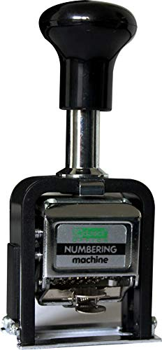 Paginierstempel/Nummernstempel, automatischer Stempel, aus Metall und Kunststoff, 6 Stellen, mit Stempelkissen, mit Stempelstab, mit Stempelfarbe, Farbe: silber/schwarz – 1 Stück