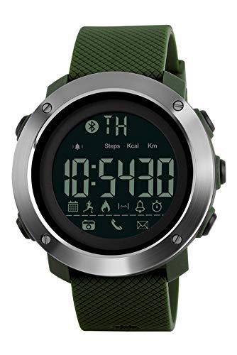 Smartwatch Herren Damen Sport Outdoor Fitness Uhr 5 ATM Wasserdicht Schrittzähler Kalorienzähler Digital Armbanduhr Smart Watch Bluetooth IOS Android SMS Wecker LED Stoppuhr