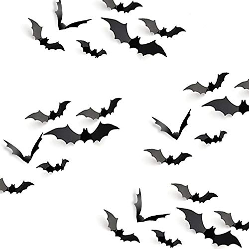 KUUQA Halloween Party Decoration Decal Wall Sticker DIY PVC 3D Decorative Bats