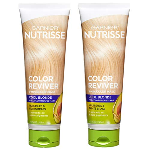 Price comparison product image Garnier Nutrisse Color Reviver 5 Minute Nourishing Color Hair Mask,  Cool Blonde,  4.2 fl. oz. (Pack of 2)