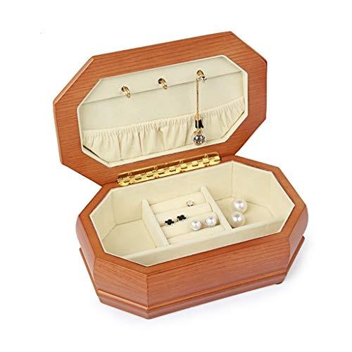 LANA Madera Octogonal Joy Caja, Estante de joyería Organizador del almacenaje de Collar de Anillos Pendientes y los Clavos, joyería Colección del Caso de exhibición, 20 × 13 × 7 cm
