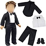 ZITA ELEMENT American 18 Inch Boy Doll Wedding Clothes Party Suit and Shoes - Fashion Black Tuxedo Outfit Included Black Jacket, Pants, Shoes and White Shirt with Tie Knot