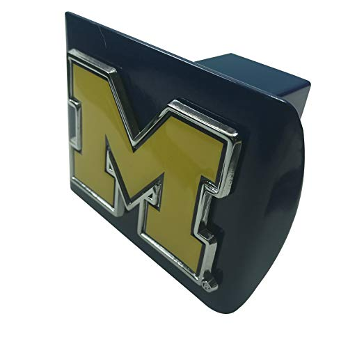 AMG University of Michigan Yellow Metal M on Blue Metal Hitch Cover
