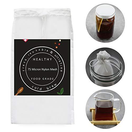 2PACK–Cold Brew Coffee Tasche–21,8x 12,7cm Ultra Fein mesh-75Micron Lebensmittelechtes Nylon, nahtlos unten wiederverwendbar kalt Brew Kaffee Filter/Kaffeemaschine