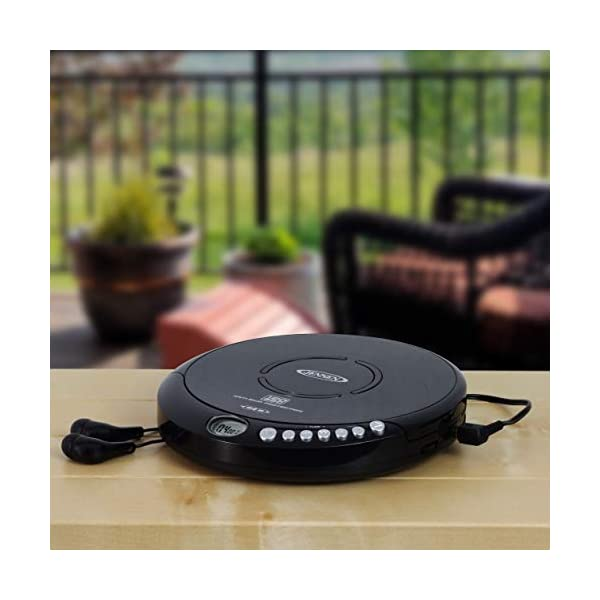 Portable CD-120BK Portable Personal CD Player Compact 120 SEC Anti-Skip CD Player – Lightweight & Shockproof Music Disc Player & FM Radio Pro-Earbuds for Kids & Adults 5