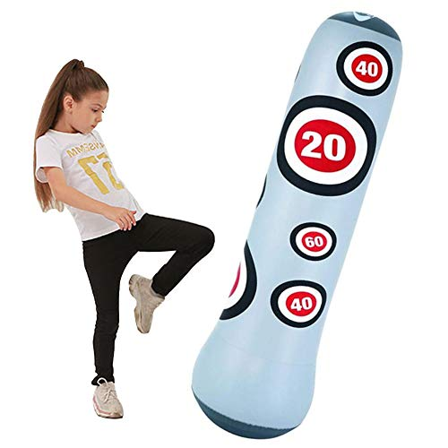 YZU Inflatable Free Standing Punching Bag, Punch Sandbag for Kids, with Foot Air Pump, Adult/Kids Best Boxing Equipment for Training