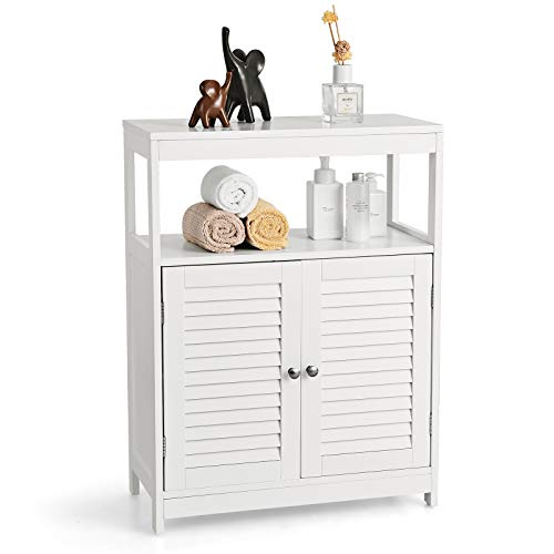 COSTWAY Badezimmerschrank mit höhenverstellbarer Ablage, Badezimmer Schrank mit 2 Lamellentüren und Kippschutz, Badschrank Holz, Badkommode freistehend, Sideboard weiß