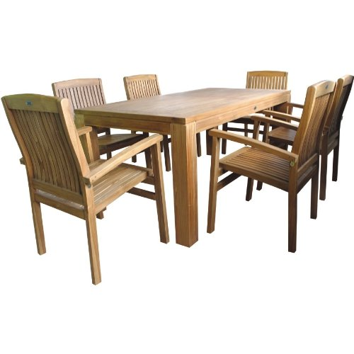 Linder LINDER Sitzgruppe Holz 180x90x75cm Tisch 6X Sessel Teak Balkon Terrasse Gartengarnitur