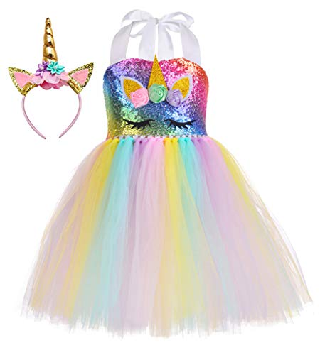 (60% OFF Coupon) Unicorn Rainbow Tutu Dress W/ Headband for Girls $13.20