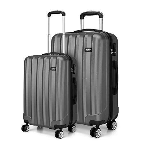 Kono 2 Piece Lightweight Travel Luggage Set ABS Hard Shell Carry on Luggage & Medium Checked Suitcase (Grey)