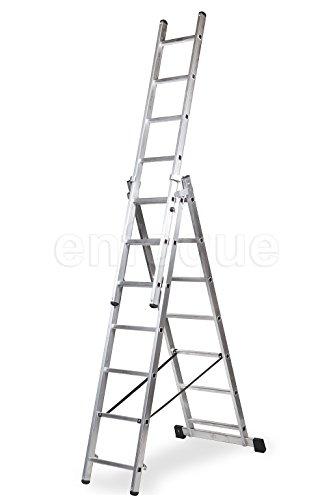 ALTIPESA Escalera Profesional de Aluminio Triple Tijera un Acceso con Tramo Extensible 3 x 7 peldaños Serie Triple