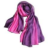 SNUG STAR Bufanda de seda de algodón elegante y suave, bufandas de sombra de color para mujer