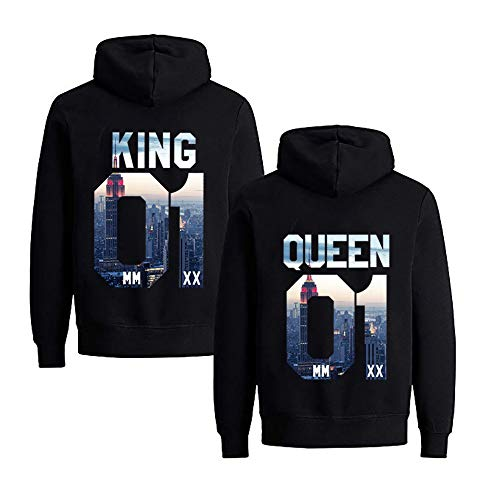 NIMAMA Pärchen Hoodie Set King Queen Pullover für Kapuzenpullover für Paare Paar Valentinstag Partner Geschenke Partnerlook Liebespaar Couple Mr Mrs Kapuzenpulli (King-S+Queen-L,City)