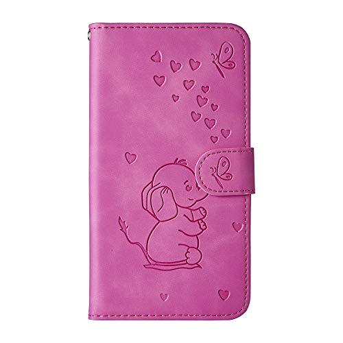 Ailisi Samsung Galaxy A8s Hülle, Karikatur Elefantenbaby Muster Leder Handyhülle Brieftasche Schutzhülle Leder Flip Hülle Wallet Cover Klapphüllen Tasche Etui mit Kartenfächern+Stand -Lila Rot