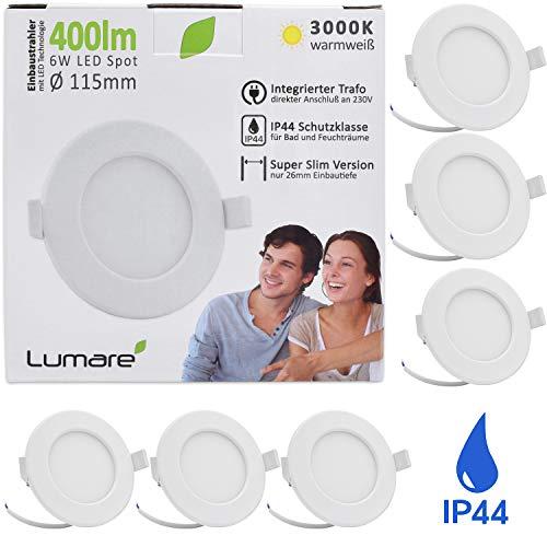 Lumare LED Einbaustrahler 6W 230V IP44 Ultra flach 6er Set Wohnzimmer, Badezimmer Einbauleuchten weiss 26mm Einbautiefe Mini Slim Decken Spot warmweiß