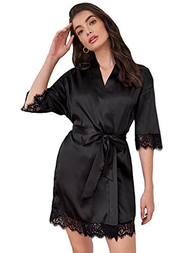 DIDK Damen Morgenmantel Bademantel Satin Sexy Hausmantel Kimono Kurz Robe mit Gürtel Nachthemd für Braut Nachtwäsche mit Blumenspitze Schwarz S