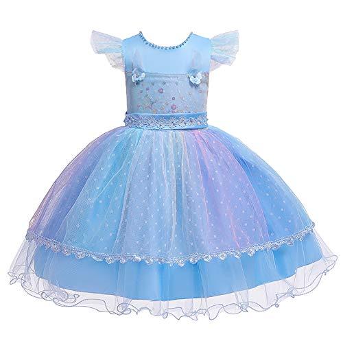 Valin C756 - Vestido de tul para niña, vestido de princesa, para bodas, cumpleaños, etc. azul 80 cm