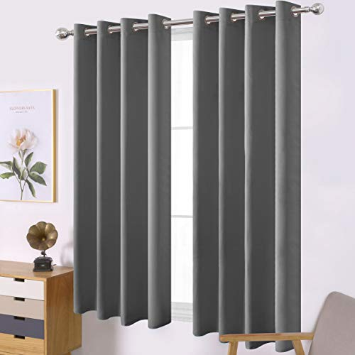 LEMOMO Frost Grey Blackout Curtains/52 x 63 Inch/Set of 2 Panels Thermal Insulated Room Darkening Curtains for Bedroom