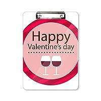 ピンクのバレンタインデーの眼鏡 フラットヘッドフォルダーライティングパッドテストA4