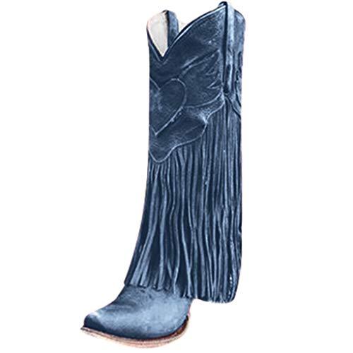 Yowablo Damen Stiefel Mode Wohnungen Quaste Spitze Zehe Schuhe mit niedrigen Absätzen Western Knight Stiefel (37 EU,Blau)