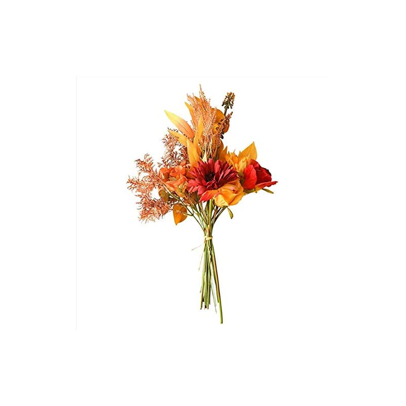 autumn fake rose flowers fall gerbera daisy artificial flower long bouquet for home wedding decoration autumn leave