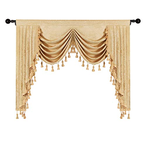 Thick Chenille Window Curtains Valance for Living Room Gold Waterfall Valance for Kitchen,Rod Pocket (W59inch, 1 Panel)
