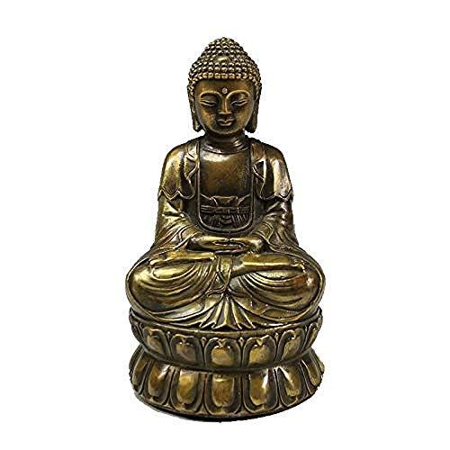SculpturesQYZ Estatuas para jardín Estatua de Buda de meditación de latón Vintage Escultura de Figura Retro Escritorio de Oficina en casa Ornamento Decorativo Regalo