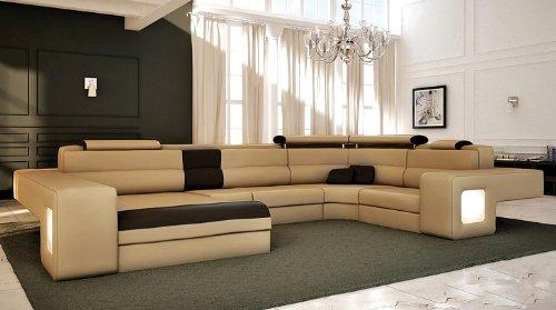 Tosh Furniture Italian Design Modern Sectional Sofa - Honey