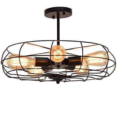 YANGQING Lámpara de luz hierro arte arte arte ventilador araña personalidad simple sala de estar restaurante cafetería bar lámpara de techo