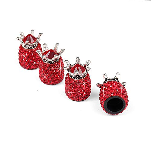JUSTTOP Car Wheel Tire Valve, 4 Pack Handmade Crown Crystal Rhinestone Car Stem Air Caps Cover, Attractive Dustproof Bling Car Accessories, Universal for Most Vehicles-Crown Red