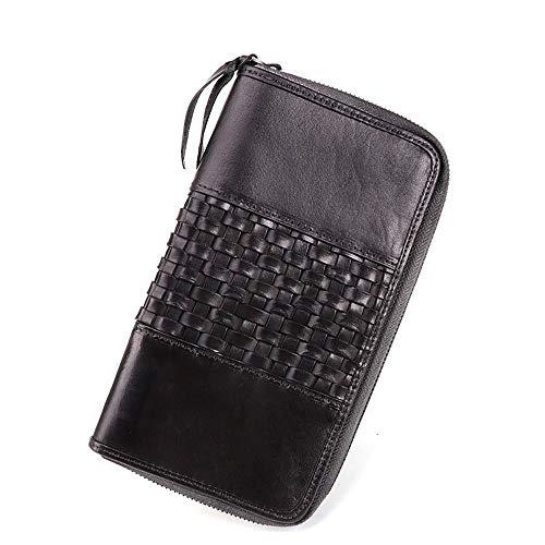 Portefeuille pour homme avec véritable carte RFID fentes de crédit/porte-monnaie/fenêtre de monnaie et poche Noir