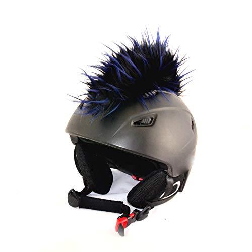 Helm-Irokese für den Skihelm, Snowboardhelm, Kinderskihelm, Kinderhelm, Motorradhelm oder Fahrradhelm - Iro-Helmcover - für Kinder und Erwachsene HELMDEKO (Schwarz mit Blau)