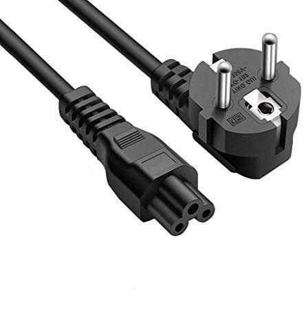 DTK Cable de alimentación portátil tripolar Clover 1.2M para Laptop para HP DELL ASUS Acer Sony Lenovo Samsung con alimentación CEE7 3 vías a C5 Hembra (2 Paquetes)