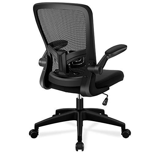 FelixKing オフィスチェア 椅子 デスクチェア メッシュチェア 事務椅子 昇降機能付き 調節可能アームレスト 腰サポー 通気性抜群 厚手 座面 360度回転 パソコンチェア 男女兼用 (黑)