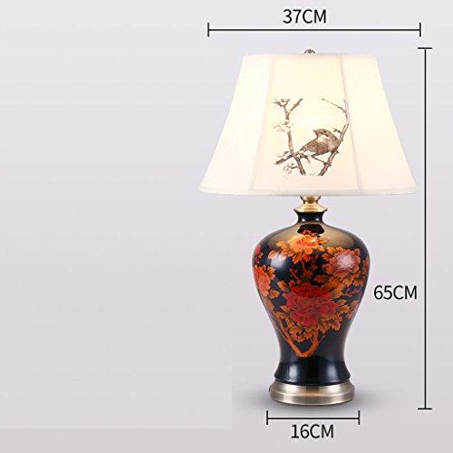 Yxsd keramiek tafellamp, slaapkamer bedlampje bureaulamp creatief rood zwart bureau licht nachtkastje verlichting lezen werklampen, knop schakelaar