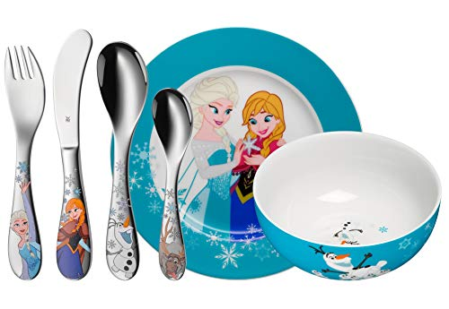 WMF Disney Frozen - Vajilla para niños 6 piezas, incluye plato, cuenco y cubertería (tenedor, cuchillo de mesa, cuchara y cuchara pequeña) (WMF Kids infantil)