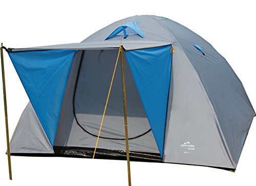 EXPLORER Zelt Iglu 2 Doppeldach Kuppelzelt mit Vordach Igluzelt 210x205x130cm 3 Personen 1500mm Wassersäule wettergeschützter Eingang Outdoor Wandern Familie Camping