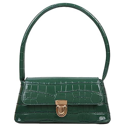 Bolso de mano de piel sintética para mujer, estilo retro, con estampado de piedras, bolso de hombro para mujer, pequeño de piel, para ir de compras en una fiesta.