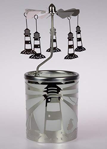 Kerzenfarm Hahn Glaskarussell Teelichthalter Windlicht 84393 Motiv Leuchtturm Größe 16 x 6 x 6 cm …, Glas, Metall Silber, 6 x 6 x 7 cm