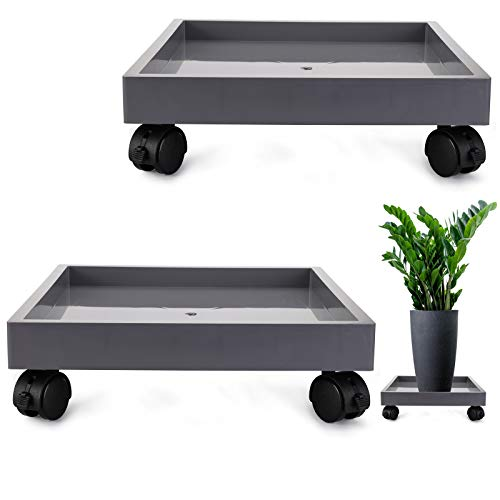 Fasmov Fasmov 2 Pack Square Plant Caddy 12.4 Inch Heavy Duty Dolly Saucer for Moving Potted Planter, Rolling Machine Trolley Tray Coasters and Gray Lined PVC