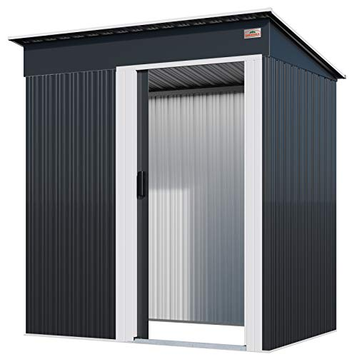 Gardebruk M Tool Shed 1.4 m² 181 x 162 x 86 cm Sliding Door Galvanised Steel Anthracite Garden Shed Tool Shed Pent Roof 3 m³