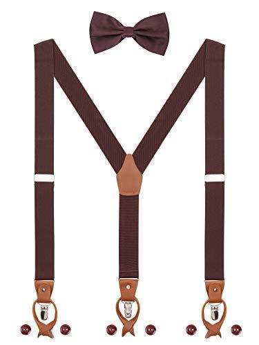 Herren Hosenträger Fliege Set 2 WAY TO WEAR 6 Leder Knopfloch 3 Clips Y-Form 3,5cm Breit Verlängerte Hosenträger für Körpergröße 160-200cm - Dunkelbraun
