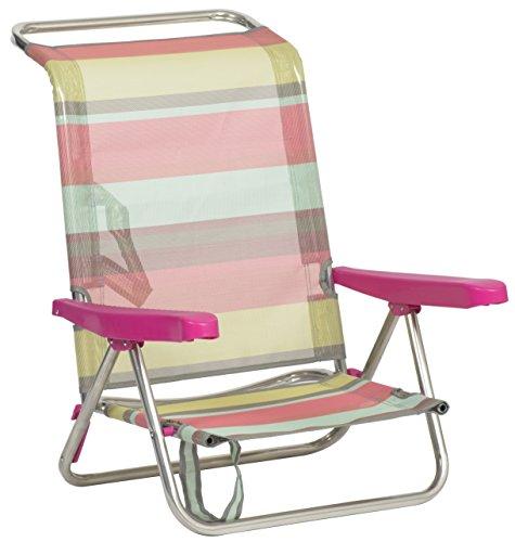 Alco 604ALF-1726 Silla Playa fibreline, Rayas Multicolor, 79x65.5x26 cm
