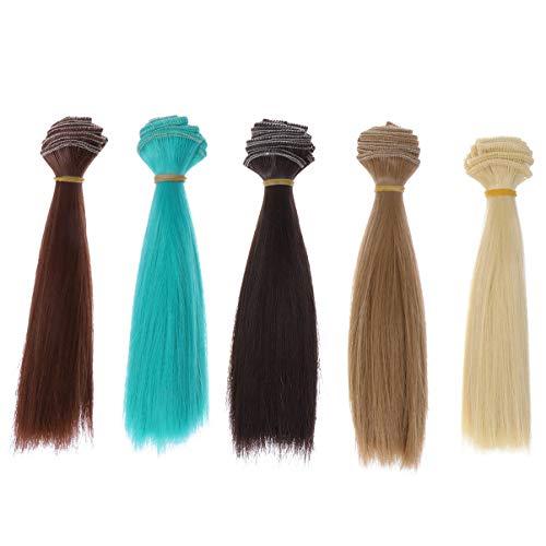 Healifty 5 Pcs Poupée Bricolage Perruque Résistant à La Chaleur Longue Ligne Droite Perruques de Remplacement Extensions de Cheveux pour Bricolage Poupées Perruques Faisant des Fournitures 15 Cm