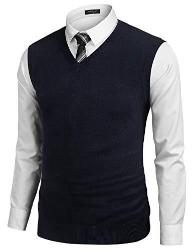 COOFANDY Men's Sleeveless Sweater Vest Lightweight V-Neck Solid Cotton Vest Pullover Blue