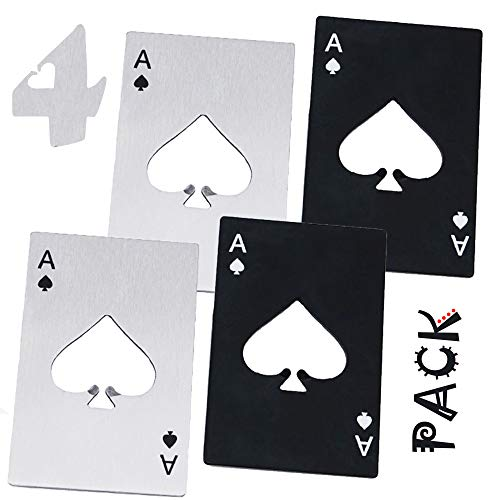 🍻 Goood Poker Card Bottle Opener Wallet Size 4 Pack ( 2 Black and 2 Silvery ) - Stainless Steel - Ace Card Bottle Opener Playing Cards - Beer Bottle Opener - Good Gift For Him 🍻